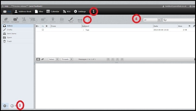 webmail user interface