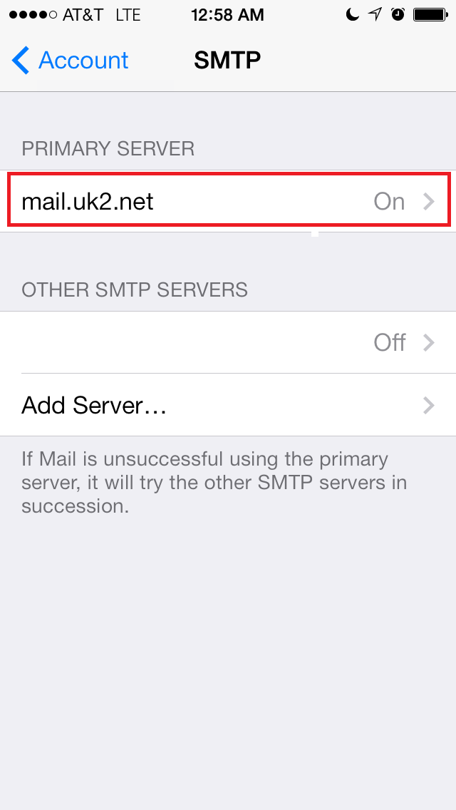 how to change primary email server on iphone