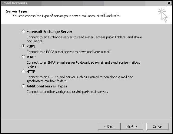 add pop3 email account